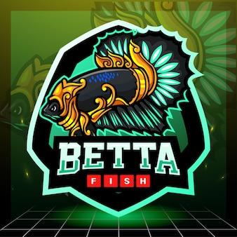 Betta 물고기 마스코트. esport 로고 디자인