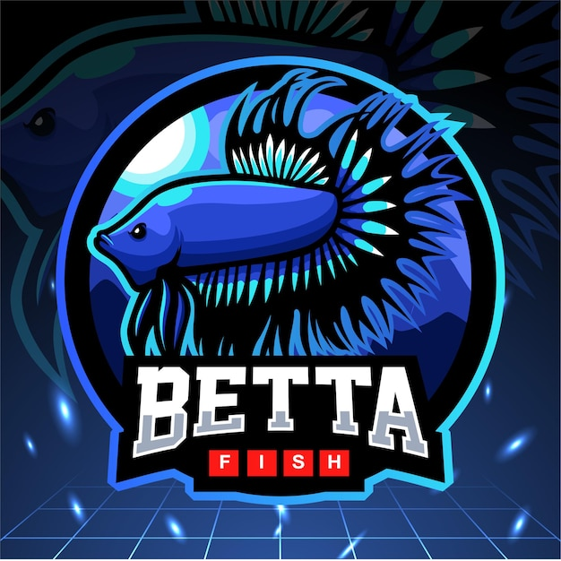Betta 물고기 마스코트. esport 로고