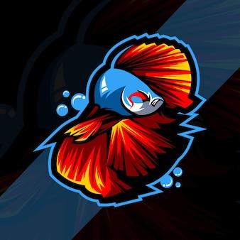 Дизайн шаблона логотипа киберспорта с талисманом betta fish