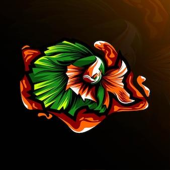 ベタ魚のマスコットロゴeスポーツテンプレートデザイン