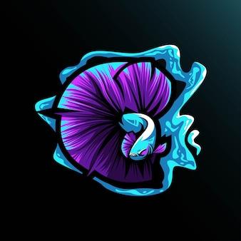 Betta の魚のマスコット ロゴのテンプレート デザイン