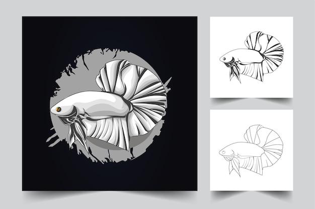 Betta fish mascot logo
