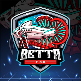 Betta 물고기 메카 로봇 마스코트 esport 로고 디자인