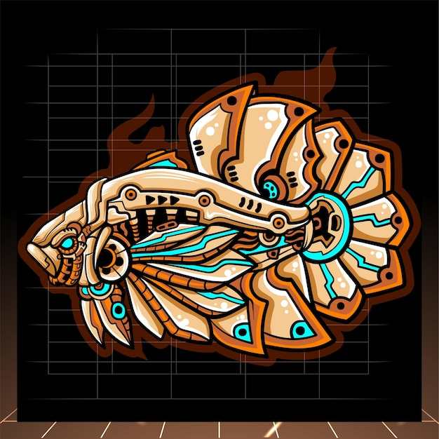 ベタ魚メカロボットマスコット。 eスポーツロゴ