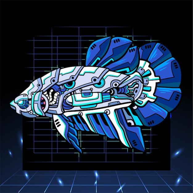 Betta 물고기 메카 로봇 마스코트. esport 로고