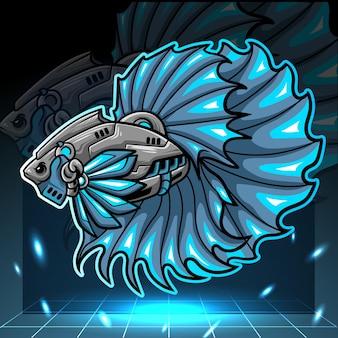 Betta 물고기 로봇 마스코트 Esport 로고 디자인 프리미엄 벡터