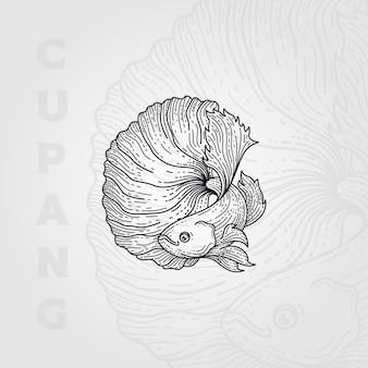 ベタ魚ヴィンテージ線画彫刻