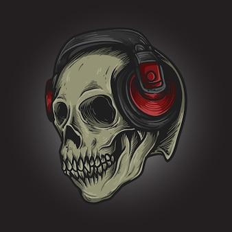 Betta skull with headphones artwork illustration