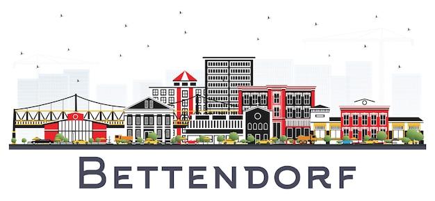 흰색 배경에 고립 된 색 건물 bettendorf 아이오와 스카이 라인. 삽화. 현대 건축과 비즈니스 여행 및 관광 그림.