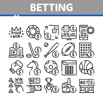 Betting and gambling collection icons set