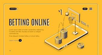 Betting on sports online line art website template.