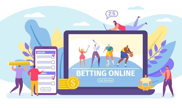 Ставки онлайн-игры, ставки на спорт баннер крошечные люди мультфильм иллюстрации.