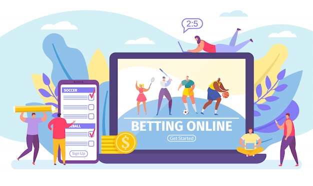 Betting online game, bets on sport banner tiny people cartoon  illustration.