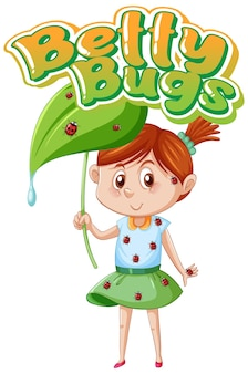 Betty bugs logo text design with ladybugs perched on girl's body
