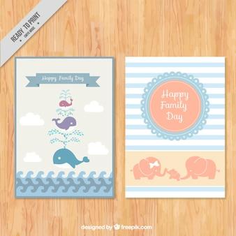 愛らしい動物と肌触りの家族の日カード
