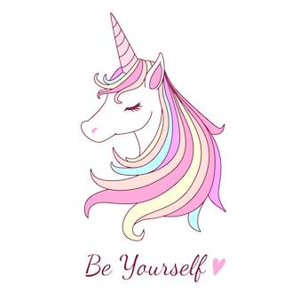 Beutiful unicorn illustration with sweet pastel color tone