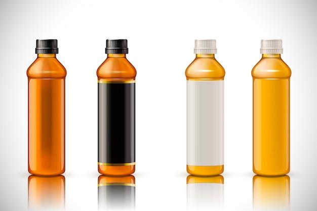 白い背景の上の3dイラストの空白のラベルと飲料ボトルのモックアップ