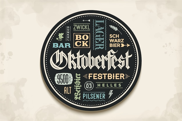 Beverage coaster for beer with hand drawn lettering for oktoberfest beer festival. vintage drawing for bar, pub, beer themes. circle for placing a beer mug or a beer bottle.  illustration