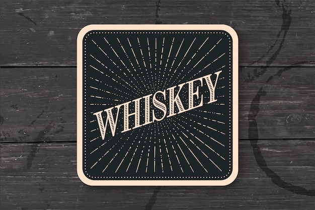 Beverage coaster glass with inscription whiskey
