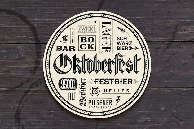 Beverage coaster with lettering for oktoberfest