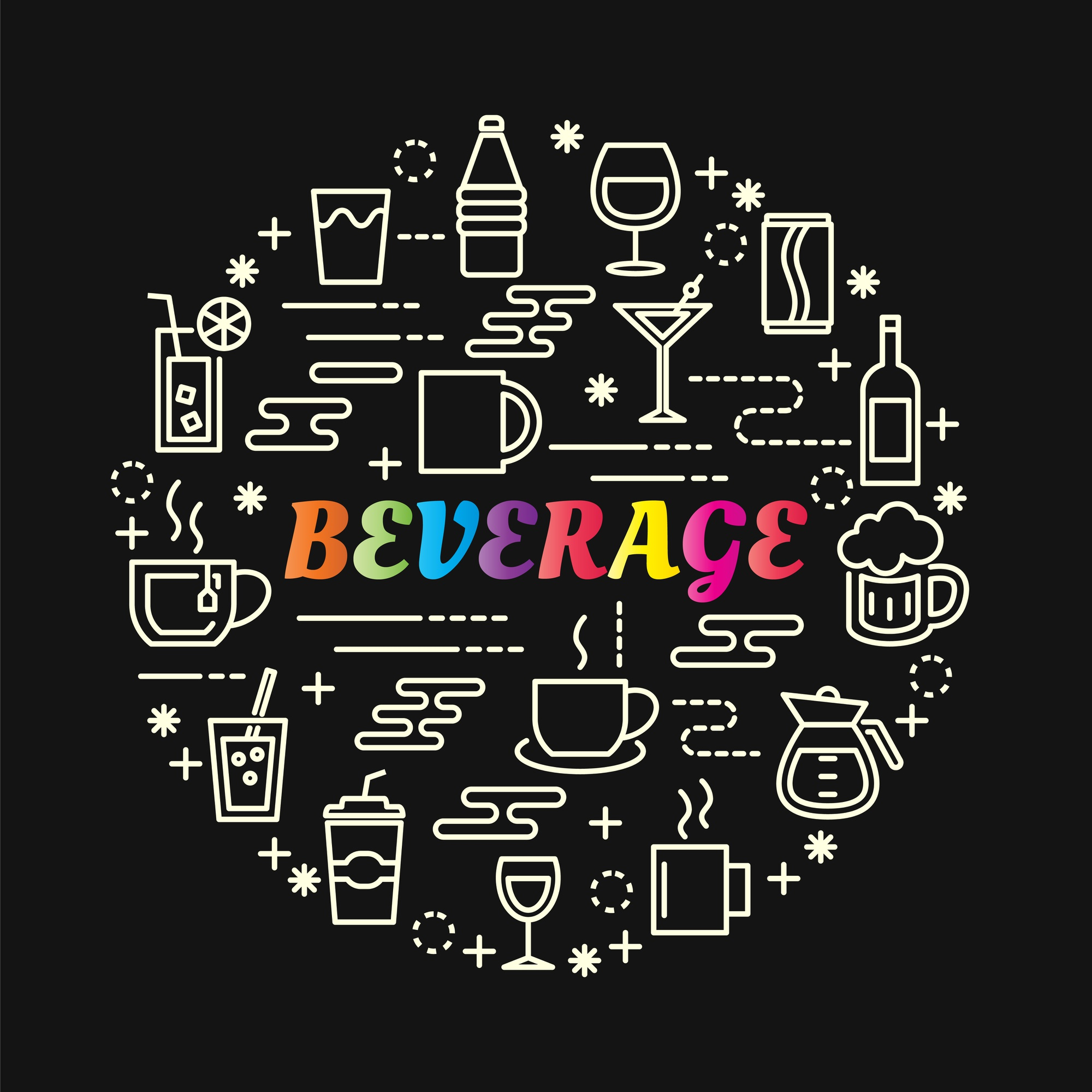 Beverage colorful gradient with line icons set