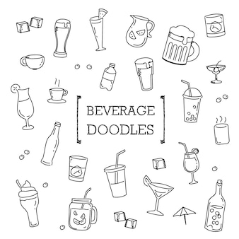 Beverage doodles set, hand drawing styles drinks.
