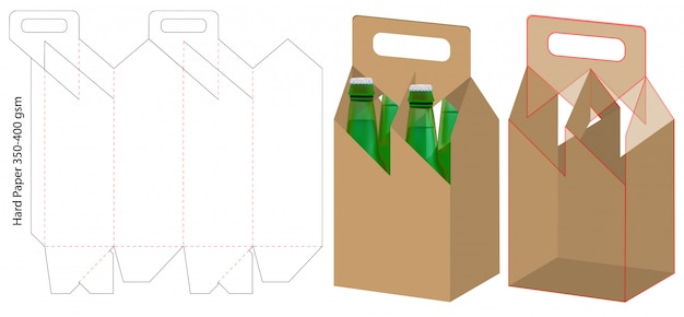 Beverage packaging die cut template design