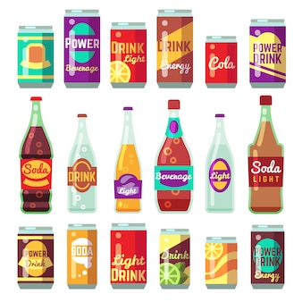 Beverage soft and energy drinks vector flat icons.