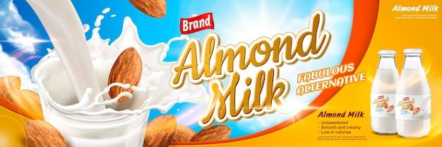 Beverage with splashing milk and almonds