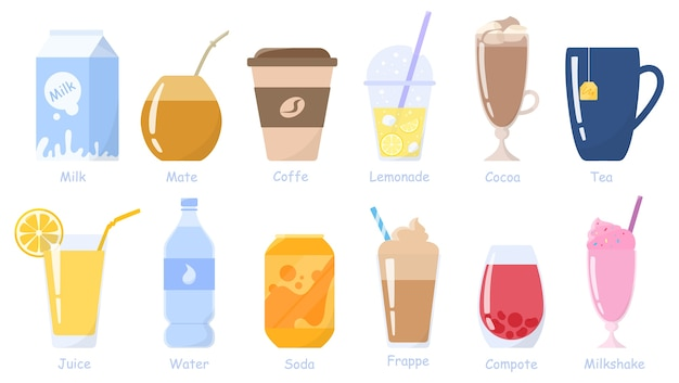 음료, 음료 세트. 우유 팩, 소다 캔, 주스 한 잔, 커피 한잔과 차 등 무 알코올 음료. 건강한 생활 방식. 삽화