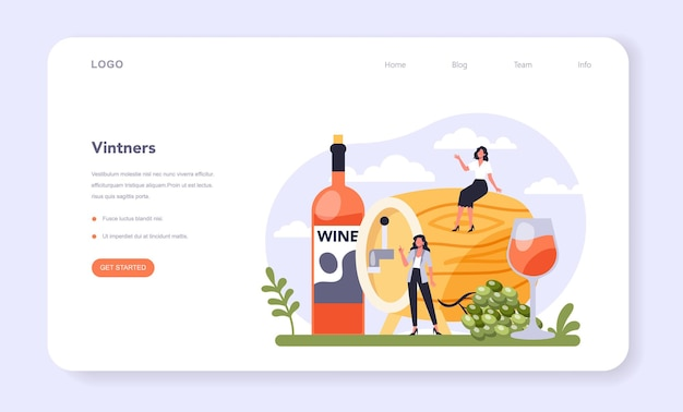 Beverages production industry sector of the economy. vintner, wine maker web banner or landing page. grape wine in a bottle and glass full of alcohol drink. flat vector illustration
