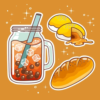 Beverages with sweetmeats. hand drawn set collection.