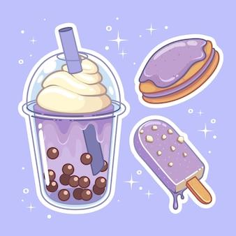 Напитки со сладостями. коллекция рисованной набор.