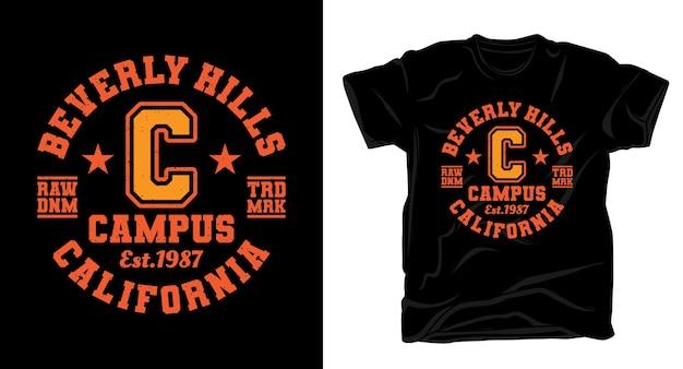 Дизайн футболки типографии университетского городка беверли-хиллз