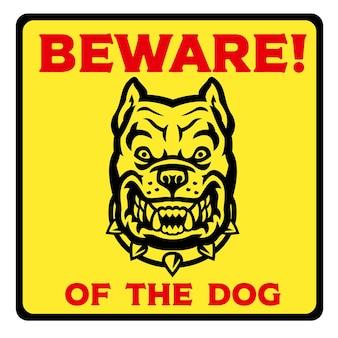 개 노란색 표지판을 조심하십시오