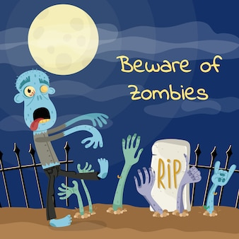 Beware of zombies poster with undead monster