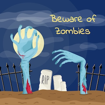 Beware of zombies poster with zombies hands