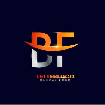 会社とビジネスのロゴのスウッシュデザインの頭文字bfロゴタイプ。
