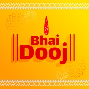 Bhai dooj tika celebration red letteting on yellow