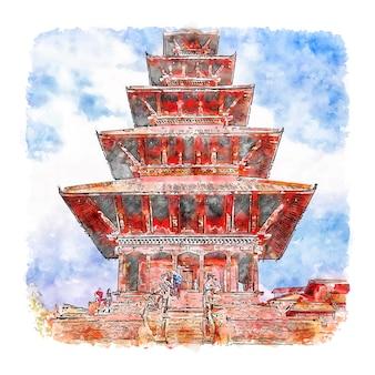 Bhaktapur 더르 바르 광장 수채화 스케치 손으로 그린 그림