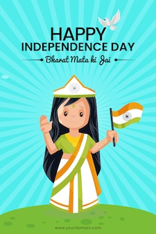 Bharat mata with a happy independence day wishes on sky background