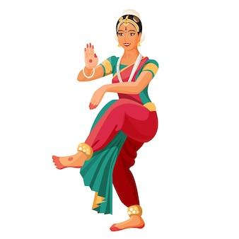 バラタナティヤムまたはバラタナティヤムの女性ダンサーのイラスト