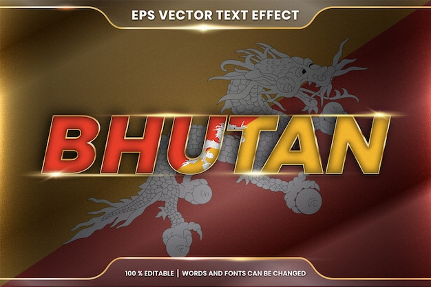 Bhutan with its national country flag, editable text effect style with gradient gold color concept