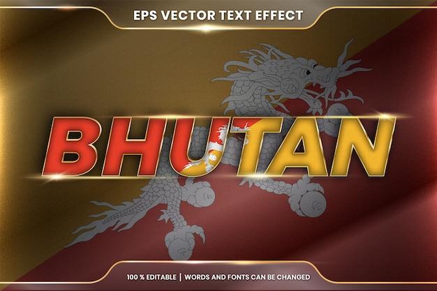 Бутан с национальным флагом страны, стиль редактируемого текстового эффекта с концепцией градиентного золотого цвета
