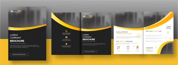 Bi-fold brochure template or annual report layout in black and white color.