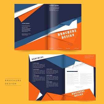 Bi-fold brochure template design in origami style