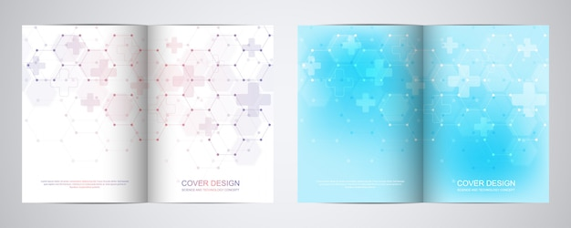 Bi fold brochure template with abstract hexagons pattern.