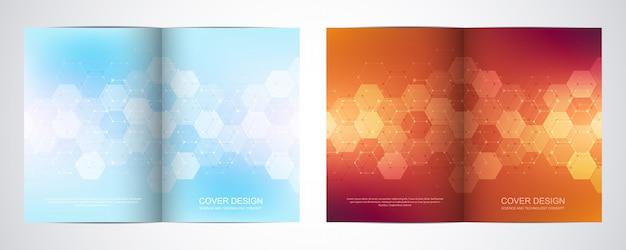 Bi fold brochure template with hexagons pattern.