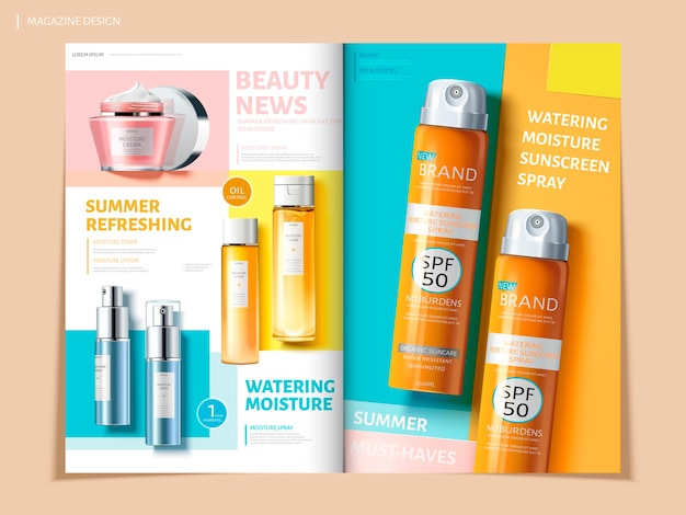 Bi fold colorful brochure featurg skincare and sun proof products, can be used on magazine or catalogs