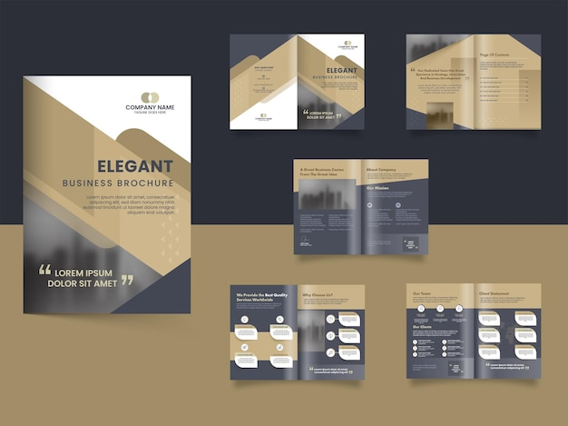 Двусторонний элегантный дизайн бизнес-брошюры с двусторонним представлением